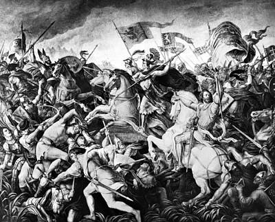 Bohemia Painting - Battle On Marchfeld, 1278 by Granger