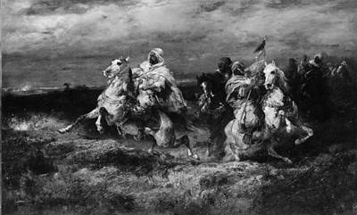 Adolf Painting - Battle Scene Arabs Making A Detour by Adolf Schreyer