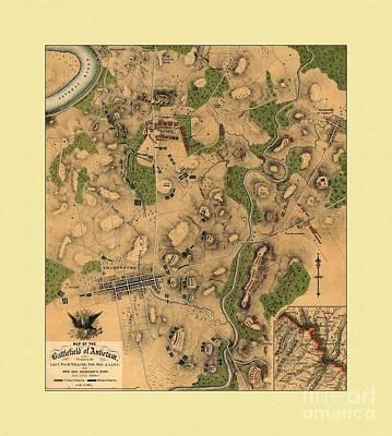 General Washington Mixed Media - Battlefield Of Antietam Map by Maciek Froncisz