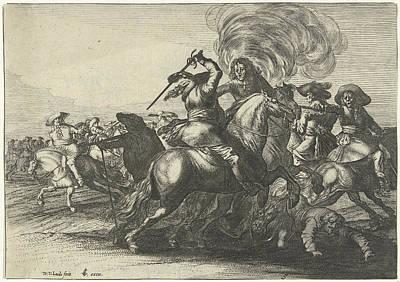 Trample Drawing - Battlefield Scene With Riders Fighting, Willem Van De Lande by Willem Van De Lande And Claes Jansz. Visscher (ii)