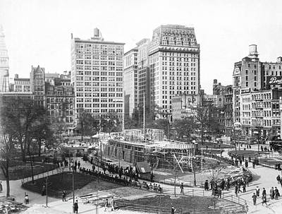 Battleship In Union Square Print by Underwood Archives