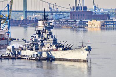 Battleship New Jersey And The Walt Whitman Bridge Art Print by Bill Cannon