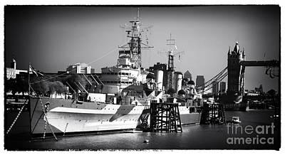Belfast Bridge Photograph - Battleship On The Thames by John Rizzuto
