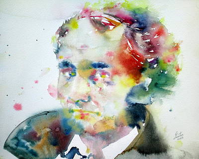Baudelaire - Watercolor Portrait Art Print