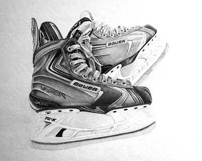Rivets Drawing - Bauer Vapor X100 Skates by Gary Reising