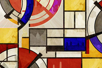 Bauhaus Rectangle Four Art Print by Big Fat Arts