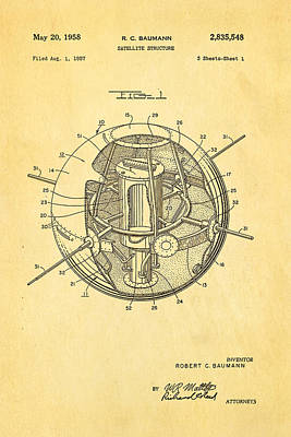Rocket Science Photograph - Baumann Satellite Patent Art 1958 by Ian Monk