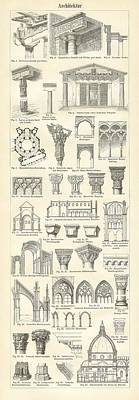 Greek Temple Drawing - Baustile I And Baustile II by German School