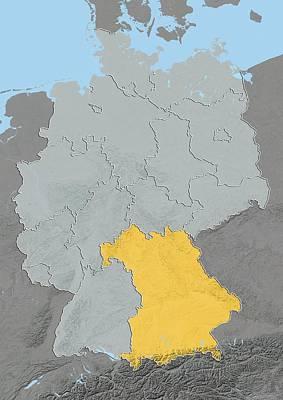 Bavaria, Germany, Relief Map Art Print