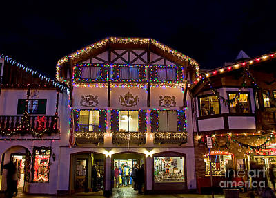 Photograph - Leavenworth Bavarian Building Christmas Holiday Bustle Art Prints by Valerie Garner