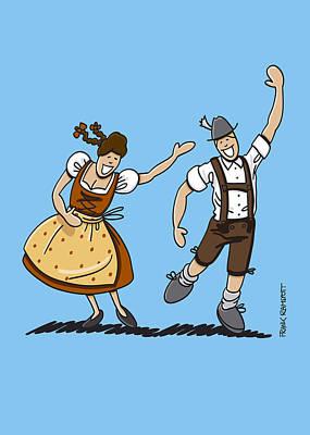 Vector Digital Art - Bavarian Couple Celebrating The Oktoberfest by Frank Ramspott