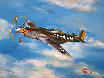 Axis Painting - Baxter Takes Flight by Julia Robinson