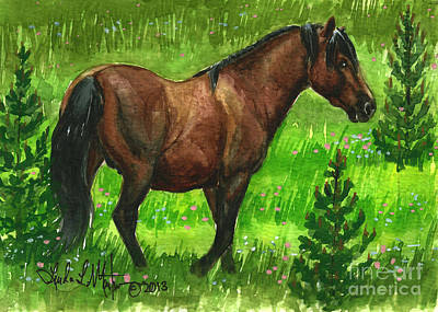 Painting - Bay Alberta Stallion by Linda L Martin