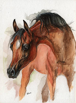 Bay Arabian Foal Watercolor Portrait Art Print by Angel Ciesniarska