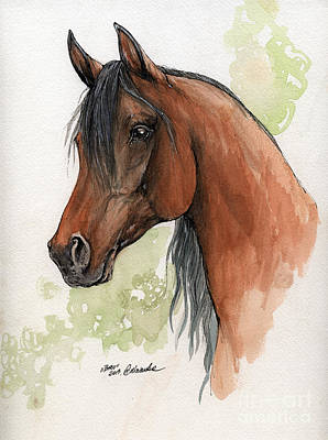 Bay Arabian Horse Watercolor Painting 16 07 2013 Original by Angel  Tarantella