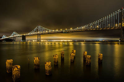 Bay Bridge And Clouds At Night Art Print