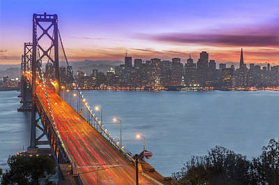 Bay Bridge And San Francisco Skyline At Art Print by Spondylolithesis