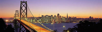 Bay Bridge At Night, San Francisco Art Print by Panoramic Images