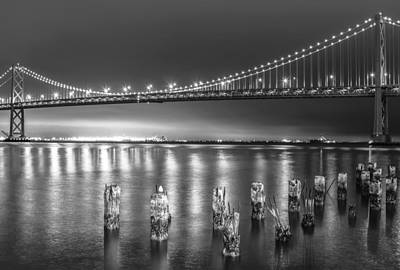 Bay Bridge Black And White Art Print