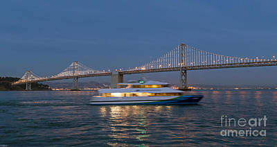 Photograph - Bay Bridge Lights And Ferry by Kate Brown