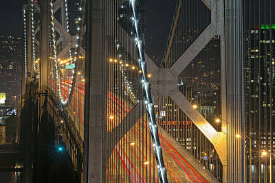 Bay Bridge Night Colors Art Print by David Yu