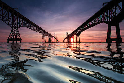 Sunset Photograph - Bay Bridge Reflections by Jennifer Casey