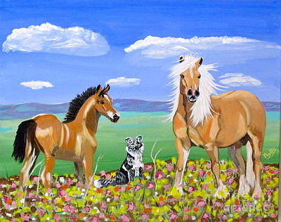 Painting - Bay Colt Golden Palomino And Pal by Phyllis Kaltenbach