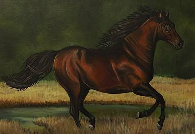 Native American Spirit Portrait Painting - Dark Horse by Lucy Deane