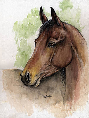 Bay Horse Portrait Watercolor Painting 02 2013 A Art Print by Angel  Tarantella