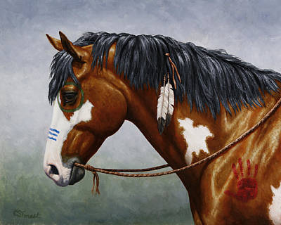 Native American War Horse Painting - Bay Native American War Horse by Crista Forest