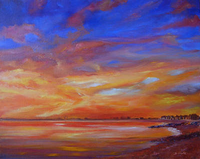 Painting - Bay Of Hythe On Fire by Beatrice Cloake