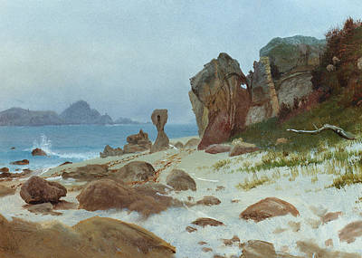 Driftwood Beach Fog Wall Art - Painting - Bay Of Monterey by Albert Bierstadt