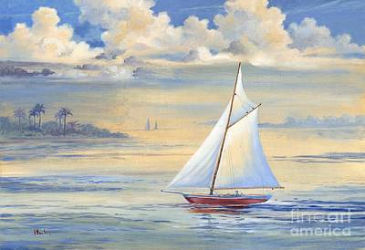 Blue-gray Painting - Bay Of Palms by Paul Brent
