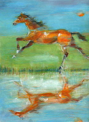 Art Print featuring the painting Bay Reflection by Mary Armstrong