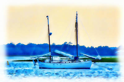 Photograph - Sailboat - Coastal - Bay Side Evening by Barry Jones