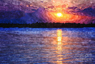 Digital Art - Bay Sunset With Tetrapods Silhouette by Beverly Claire Kaiya