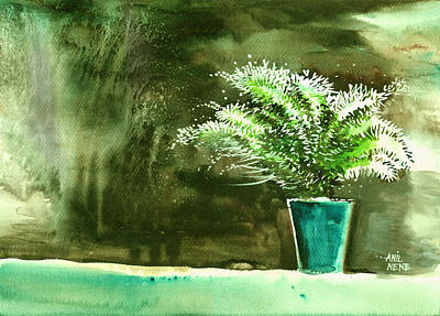 Bay Window Plant Art Print by Anil Nene