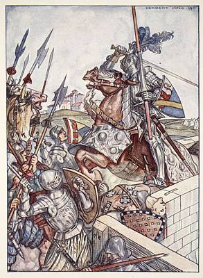 Knight Drawing - Bayard Defends The Bridge, Illustration by Herbert Cole