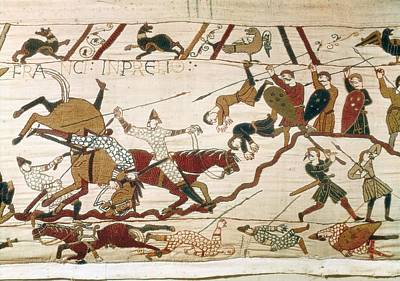 Tapestries Textiles Photograph - Bayeux Tapestry. 1066-1077. Scene by Everett