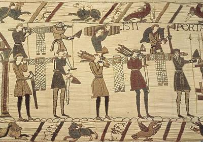 People Tapestries - Textiles Photograph - Bayeux Tapestry. 1066-1077. Ttransport by Everett