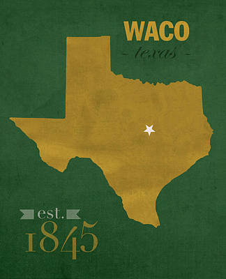 Harvard Mixed Media - Baylor University Bears Waco Texas College Town State Map Poster Series No 018 by Design Turnpike