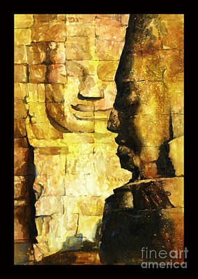 Painting - Bayon Khmer Temple At Angkor Wat Cambodia by Ryan Fox