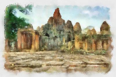 Bayon Temple Art Print by Teara Na