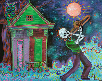 Trombone Painting - Bayou Blues by Laura Barbosa