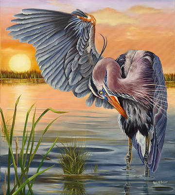 Waterfowl Painting - Bayou Blues by Phyllis Beiser