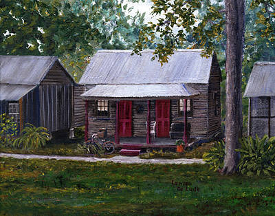 Painting - Bayou Cabins Art Breaux Bridge Louisiana by Lenora  De Lude