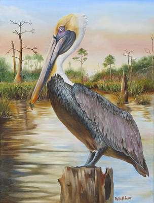 Bayou Coco Point Pelican Art Print by Phyllis Beiser