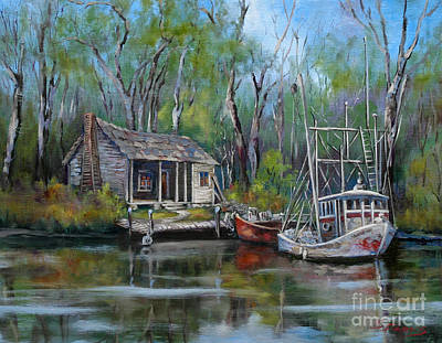 Wood Painting - Bayou Shrimper by Dianne Parks
