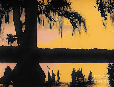 Cypress Tree Drawing - Bayou Sunset by D Hackett
