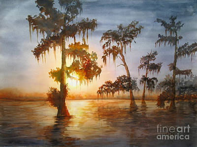 Cypress Swamp Painting - Bayou Sunset by Mohamed Hirji